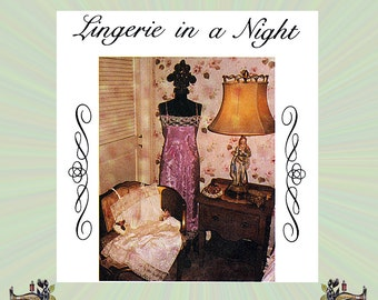 Lingerie Sewing Pattern for Sergers; Chemise, Camisole & Half Slip with Spaghetti Straps and  Lace Trim, From The Cutting Edge, Sizes 6-18