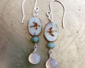 Pale Blue Gray Chalcedony and Swallows Gemstone Earrings
