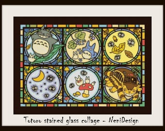 Totoro stained glass collage, cross stitch pattern, cross stitch Totoro, Totoro pattern, cross stitch anime, PDF pattern, instant download