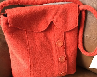 Upcycled felt bag with buttons