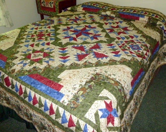 Adirondack Quilt Queen Size Back to Nature pattern leaves berrries acorns and pine cones