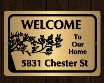 """Custom Home Address Aluminum Sign 12"""" x 8""""  Personalized House Number Plaque"""