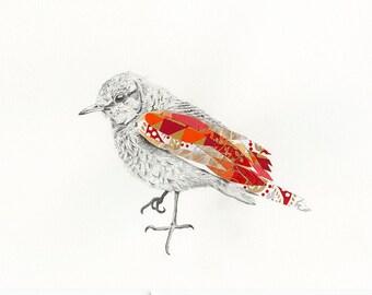 Bird Art Print   Surreal   Orange and Red