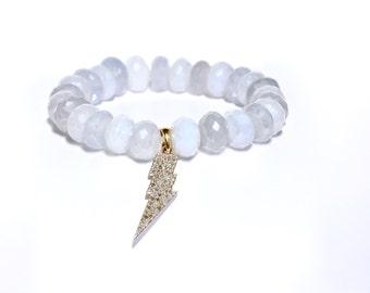 14K Gold Pave Diamond Lighting Bolt Blue Lace Chalcedony Beaded Bracelet