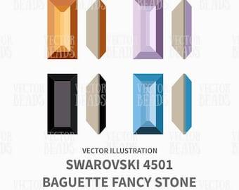 Vector Illustration of 4501 Swarovski Baguette Fancy Stone - Digital Clip-Art Set