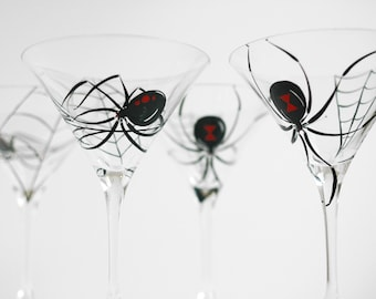 Black Widow Spider Martini Glasses -- Set of 4 Hand Painted Halloween Glasses