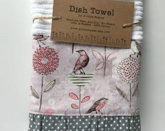 Kitchen Dish Towel Flowers / Kitchen Bar Mop Towel /  Pink and Grey Flowers Kitchen Towel / Spring Birds and Flowers