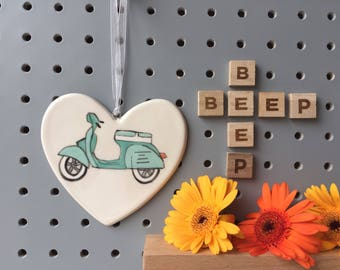 Scooter - customisable - hand painted ceramic heart - My generation, moped