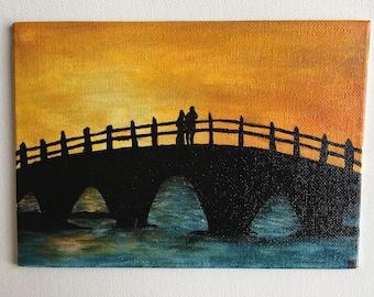 Sunset Silhouette Original Acrylic Painting  5x7