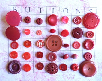 35 RED VINTAGE Buttons for Sewing, Crafts, Scrapbooking, Cardmaking, Jewelry Buttons