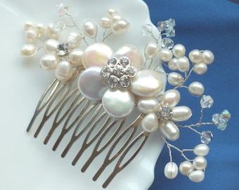 Blossom - Freshwater Pearl and Swarovski Crystal Bridal Comb