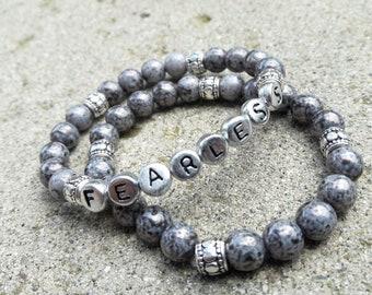 FEARLESS-Grey Glass Bracelet Set