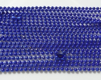 5, 70cm, 2mm, Blue Ball Chain Necklace 2mm with Connector 70cm, 5 piece package includes, Q61