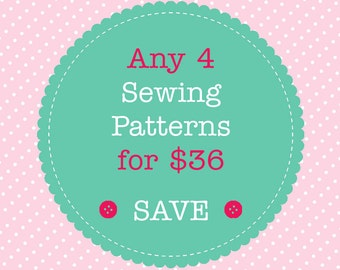 Sewing Pattern Bundle - Save When You Buy 4 PDF Sewing Patterns. Multiple Purchase Discount. You Choose Patterns