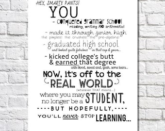 College Graduation Gift For Her Never Stop Learning Quote Print Personalized Art College Graduation Present University Graduation Gift Idea