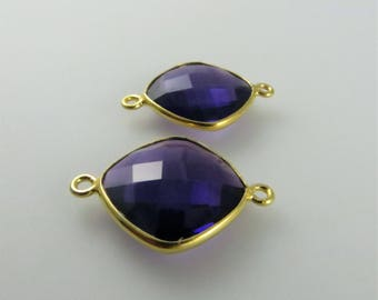 22mm Amethyst Bezel Gemstone Connector, Diamond, Faceted, Gold-Filled - Matching Pair