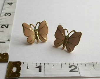 ON SALE Craft Repair Vintage Butterfly Earrings Vintage TRIFARI Jewelry Pink and Gold Post Earrings Pierced Earrings Vintage Signed Jewelry