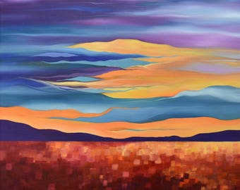 Sunset Painting...Oil Painting Landscape...Original Canvas Art...Ready to Hang