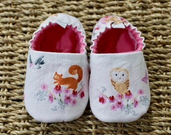 Fox and Owl Baby Shoes, Crib Shoes, Soft Sole Baby Shoes, Baby Bootie, Baby Moccs, Baby Moccasins, Baby Booties, Baby Shower Gift, Baby Girl