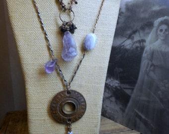 Midsummer Night Gypsy Dream. Antique Door Hardware, Copper Moon, Ceramic & Gemstones. Boho Necklace Ensemble Set
