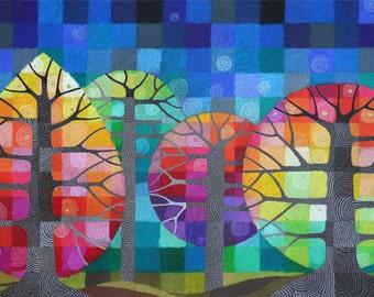 Cour avec les lucioles j'ai impression d'art, arbres géométriques arc-en-ciel multicolore avec des détails peint à la main