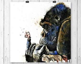 Gorilla Art Print, Gorilla Painting, Gorilla Artwork, Gorilla Paintings, African Paintings, Gorilla Art, Watercolour, Gorilla Poster,Gorilla