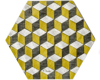 6 Yellow grey Placemats Melamine Heat Resistant 140 Retro Place mats Geometric tablemats Anniversary gift Mothers Day Gift FREE UK Shipping