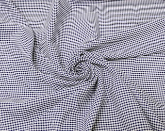 Keira NAVY BLUE Mini Checkered Poly Poplin Fabric by the Yard - 10048