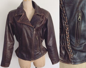 1980's Brown Leather Jacket Vintage Moto Peplum Braided Leather Jacket Size Small Medium by Maeberry Vintage