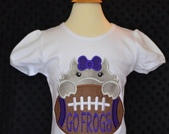 Personalized Football Horned Frog Face Applique Shirt or bodysuit