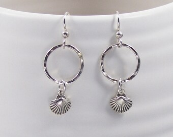 Silver Sea Shell Dangle Earrings