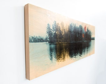 Lake Photography, Limited Edition Photo Art, Image Transfer on Wood Panel, 'The Island' by Patrick Lajoie