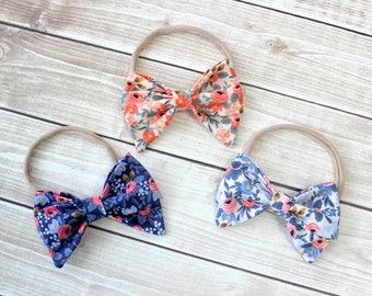 Floral Print Headbands, Baby Headband, Baby Girl Headband, Newborn Headband, Rifle Paper Co Headband, Rifle Paper Co, Cotton bow headband