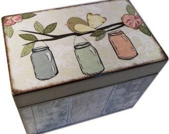 Recipe Box, Wood Recipe, Greeting Card Box, Rustic Mason Jar Bird, Wedding Recipe, Bridal Shower Box, Holds 5x8 Cards, MADE TO ORDER