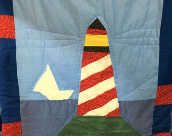 Sailing Ships and Lighthouses Quilt and matching rug and shams