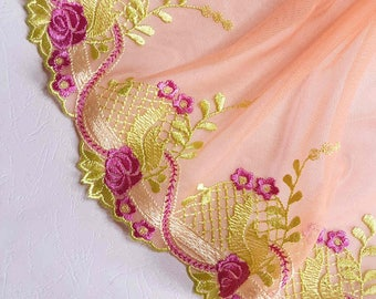 1.11 m pretty lace embroidery on orange yellow tulle width 21 cm