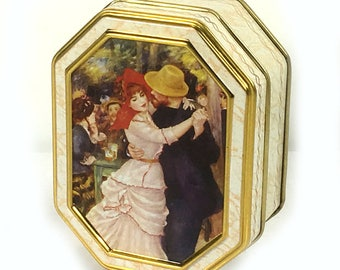 """Small Eight-sided Tin- Churchill's Old Masters' Collection, Auguste Renoir """"Dancing at Bougival"""""""