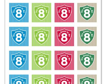 Its Great To Be 8 (shield & stripe design) - 1x1 inch Graphic Squares in Printable 5x7 Collage Sheet