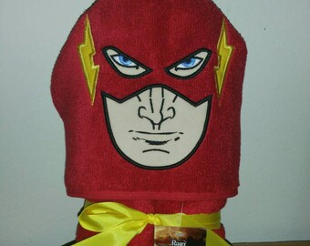 Flash Face Red Superhero Hooded Bath Towel