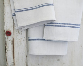 european linen towel, blue stripes