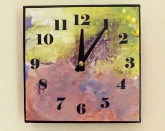 Abstract Clock, Wall Clock, Home Decor, Contemporary Clock, Modern, Chic, Yellow, Tan, Purple, Neutral