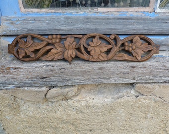 Vintage Antique 1900s  French carved wood plates architectural decor /Pediment /embellishment/  Wood cartouche