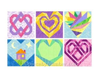 6 Heart Quilt Block Patterns, paper piecing quilt patterns, instant download PDF, wedding quilt patterns, free quilt pattern, heart patterns
