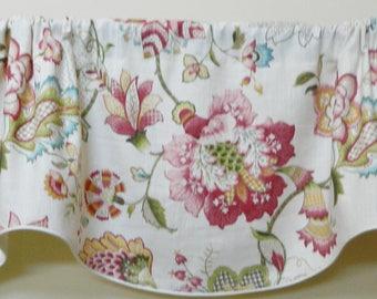 P. Kaufmann Ophelia Blossom Floral- Designer Scalloped Window Valance / Corded, Lined Valance/ Rod Pocket Scalloped Valance / Linen Fabric