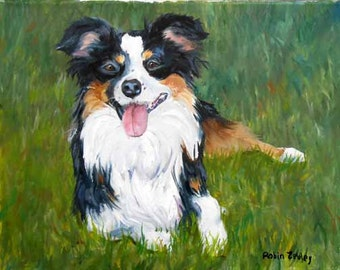 Custom Dog Portrait, Border Collie or any Pet Oil Painting Gift Certificate