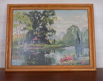 Vintage Paint By Number Lake Landscape with Swans