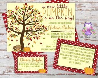 Fall Baby Shower Invitation | Little Pumpkin Baby Shower Invitation | Printable Baby Shower Invitation | Printable Book Request Card