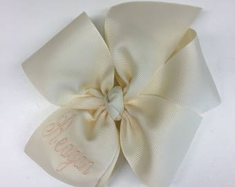 Boutique Monogram, Any Name, Hair Bow, Girls Cream, Ivory Bows, Large Size Kids, Formal Custom, Embroidered Fall, Girls Hairbows, Big Clips