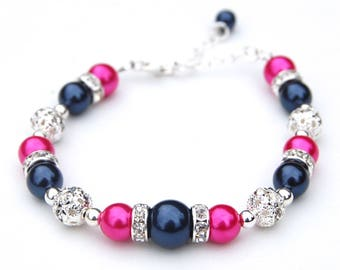 Pink and Navy Pearl Bracelet, Bridesmaid Jewelry, Fuchsia and Navy Bracelet, Hot Pink and Midnight Blue Jewelry, Spring Wedding