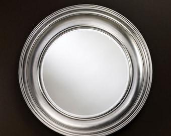Miroir Contemporain CLARA SILVER Rond Argenté 102 cm